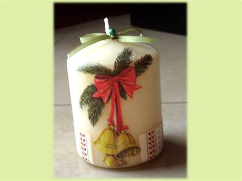 decoupage su candele candele natalizie cana regalo di natale feste