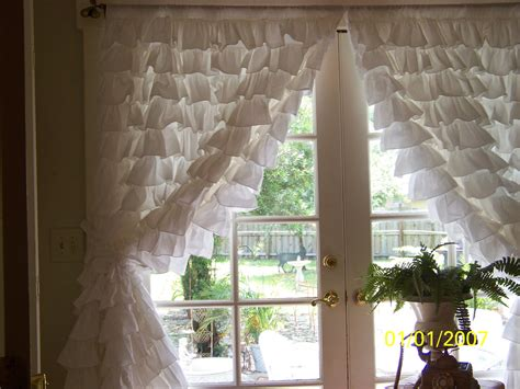 Ruffled White Curtains Pair Of Snow White Ruffled Curtains By Amberrosesgarden01