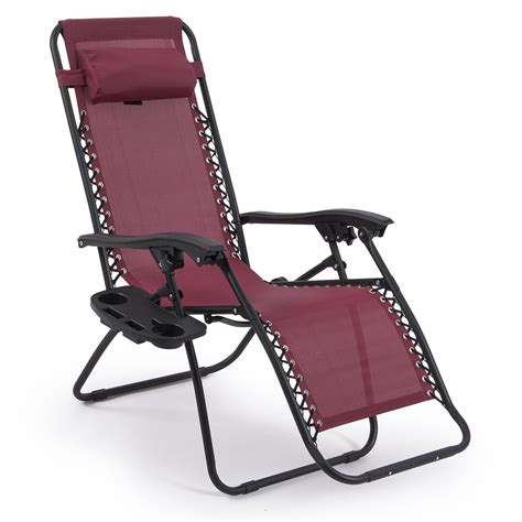 2 Folding Zero Gravity Reclining Lounge Chairs Utility Reclining Patio Chairs