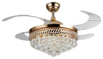 Modern Crystal Chandeliers For Dining Room Led Ceiling Fan With Crystal Shade Contemporary