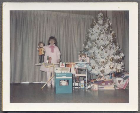 vintage polaroid color photo cute girl  christmas tree baby doll toys   christmas
