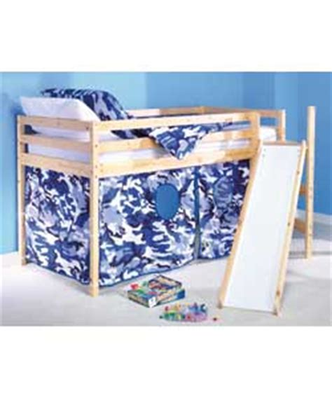 Shorty Mid Sleeper Bed With Tent by Blue Camouflage Shorty Mid Sleeper With Tent Slide And