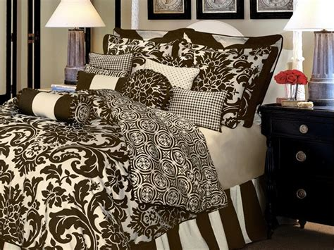 brown and white bedding dylan by rose tree formal damask print luxurious
