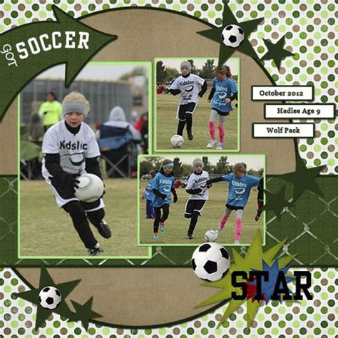 scrapbook layout soccer soccer star a cherry on top scrapbook sport lo ideas