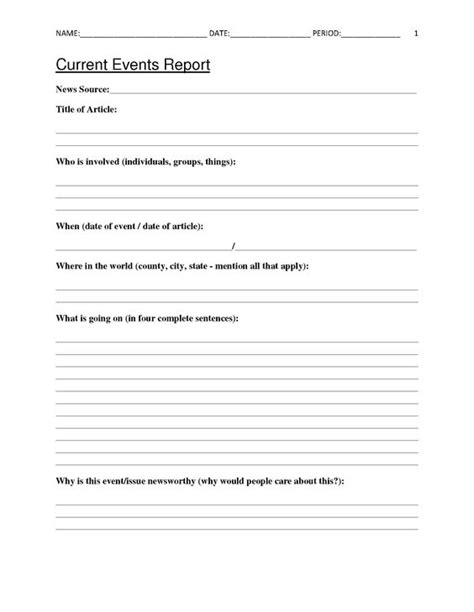Current Events Homework Sheet by Free Current Events Report Worksheet For Classroom