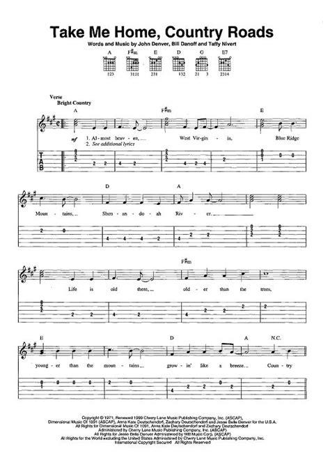 guitar tutorial john denver take me home country roads sheet music by john denver