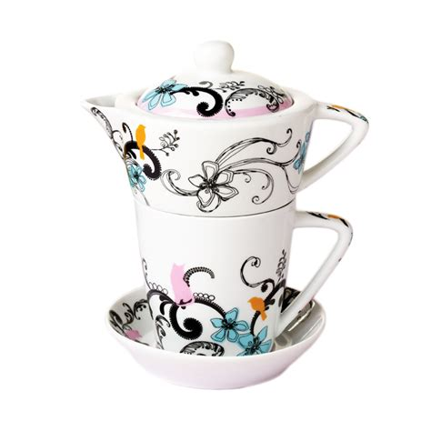 fashion flowers ceramic coffee cup and saucer with teapot