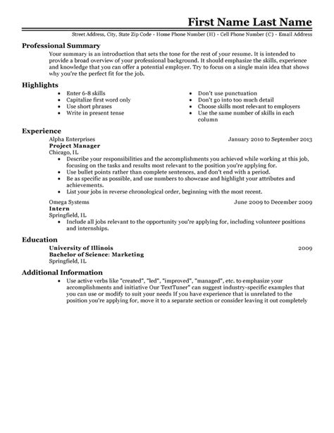 reseume templates resume template learnhowtoloseweight net