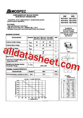 transistor mj11015 mj11015 datasheet pdf mospec semiconductor