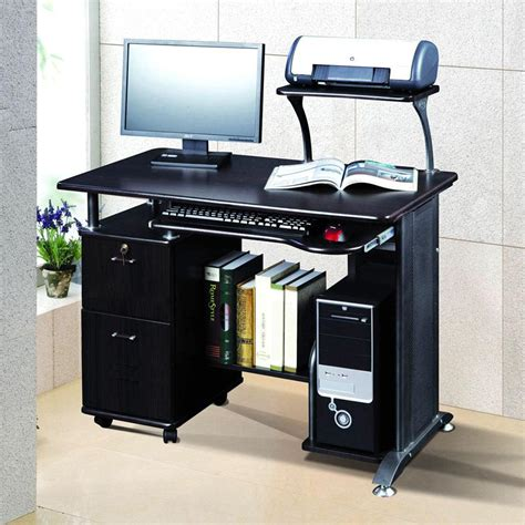 computer desk with tower storage wooden computer desk shelf drawer storage office
