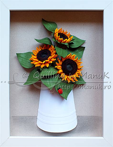 quilling sunflower tutorial quilled sunflowers in a paper vase with ladybug quilling