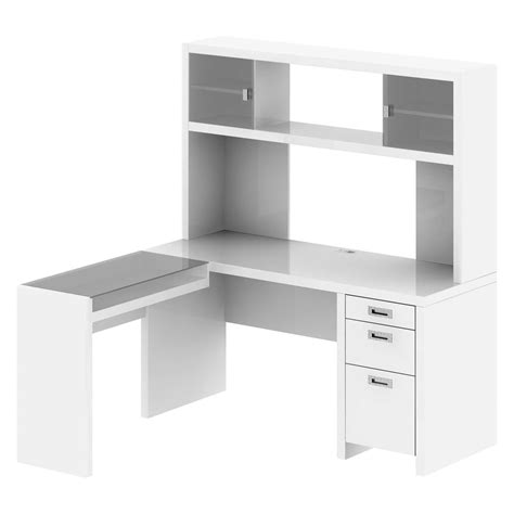 white corner wooden desk with drawer and printer storage