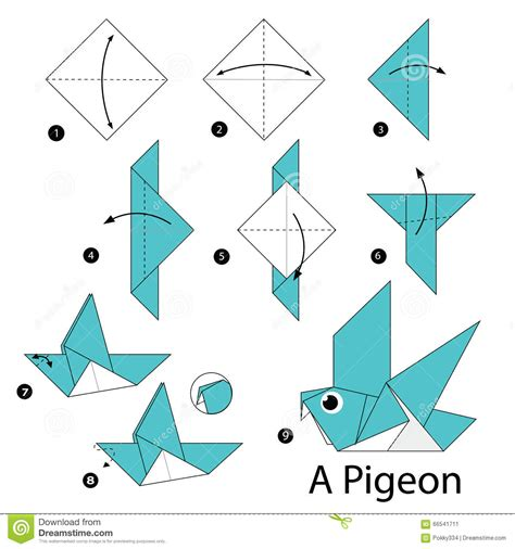 Step Origami - step by step how to make origami a bird