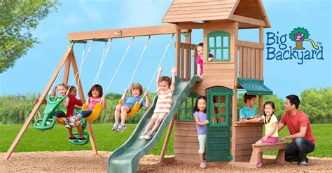 big kid swing set big backyard premium wooden swing sets kids play systems