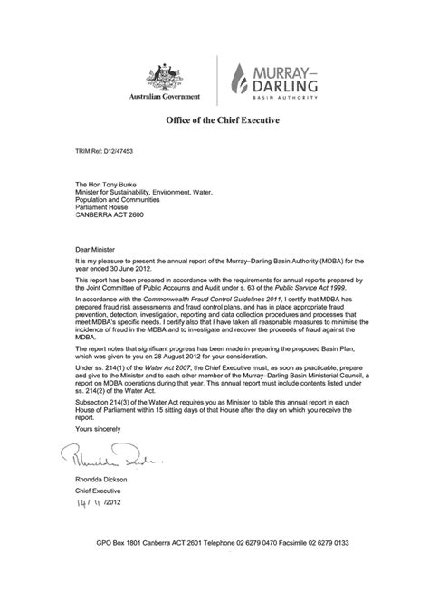 Annual Report Introduction Letter annual report murray basin authority