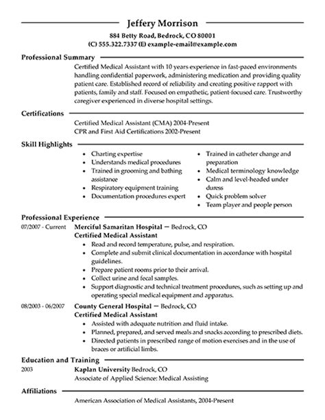 medical assistant resume summary sles writing resume