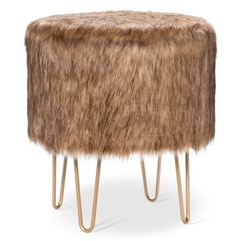 white fur ottoman target threshold fur ottoman with hairpin legs target
