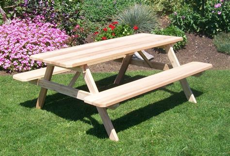 picnic table with attached benches hand crafted cedar picnic table with attached benches the rocking chair company