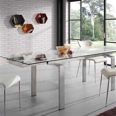 tavolo acciaio e vetro tavolo allungabile in vetro e acciaio judo design moderno