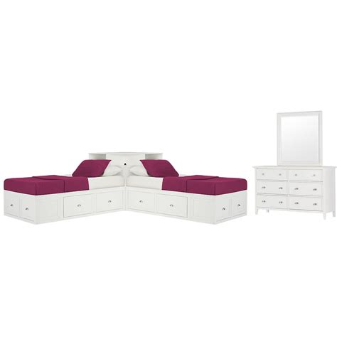 corner platform bed city furniture spencer white storage corner platform