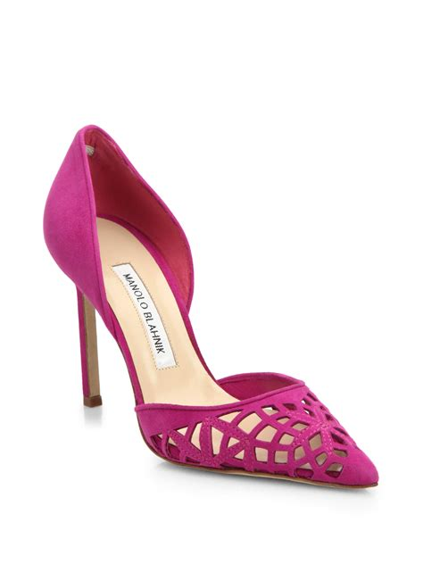 Hollywould Albane Laser Cut Pumps by Lyst Manolo Blahnik Laser Cut Suede D Orsay Pumps In Pink