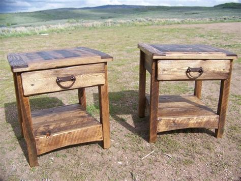 weathered wood end table rustic end table country primitive weathered wood