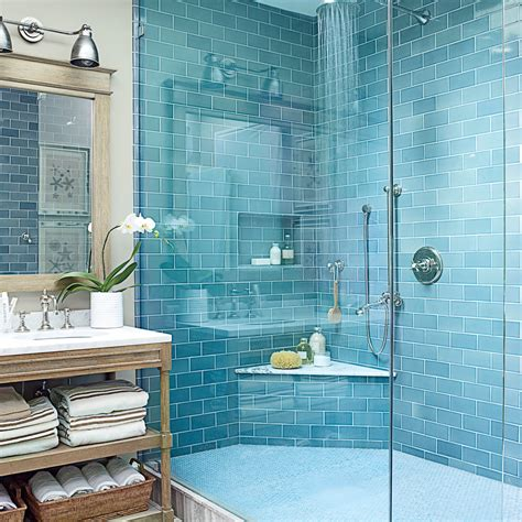 blue tiled bathroom pictures beach house bathrooms coastal living
