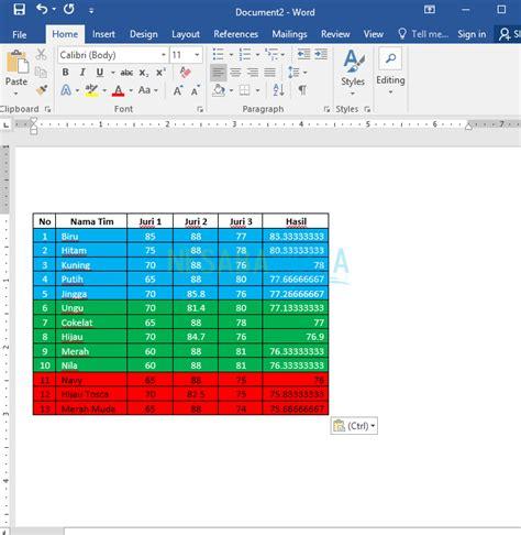 tutorial excel lengkap pdf cara memindahkan tabel dari excel ke word lengkap gambar