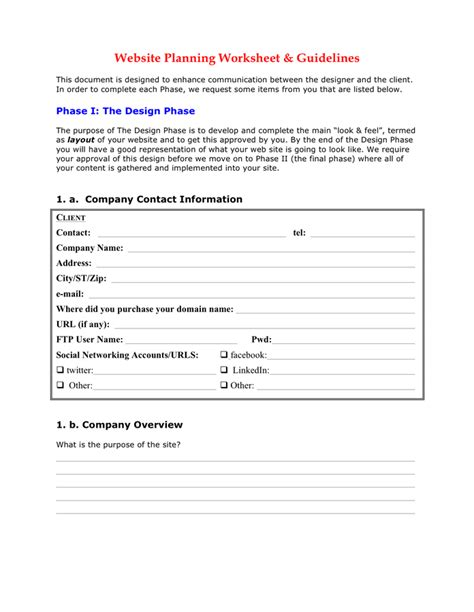Website Planning Worksheet Template In Word And Pdf Formats Website Planning Template