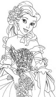 Cartoon  Printable Belle Coloring Pages Tone sketch template