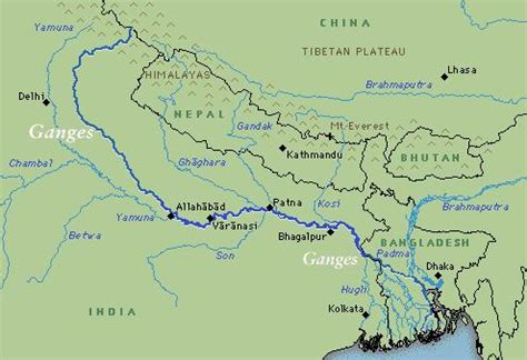 ganges river map o subcontinente indiano geobau