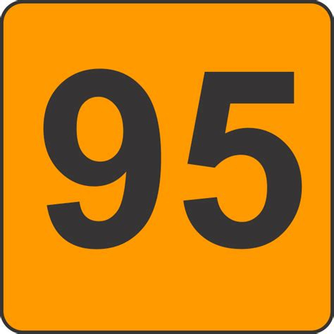 Ninety Five number ninety five 95 fluorescent circle or square labels