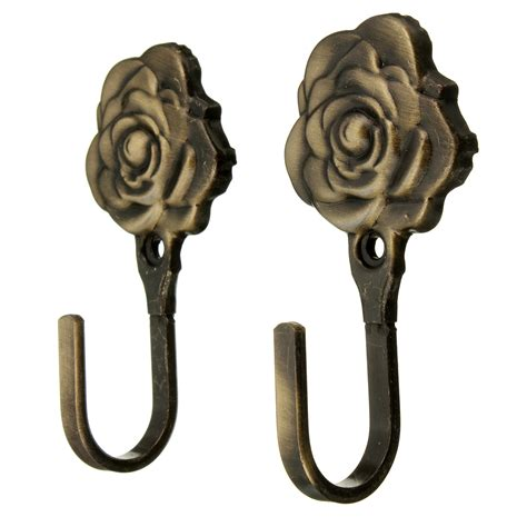 decorative curtain hooks 2pcs metal rose flower curtain tie back tieback holders