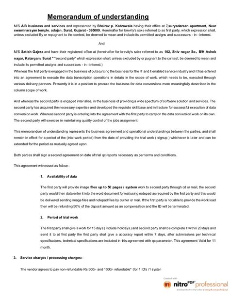 free sle memorandum of understanding template memo of understanding obama and romney 2012 debates