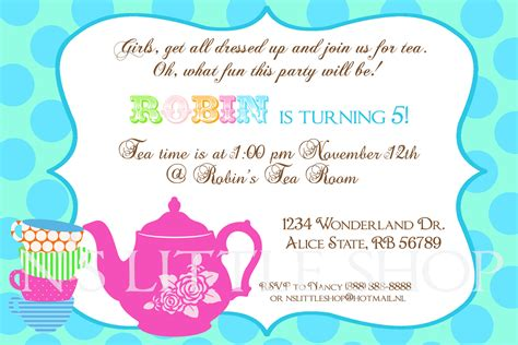 tea party invitation wording template best template