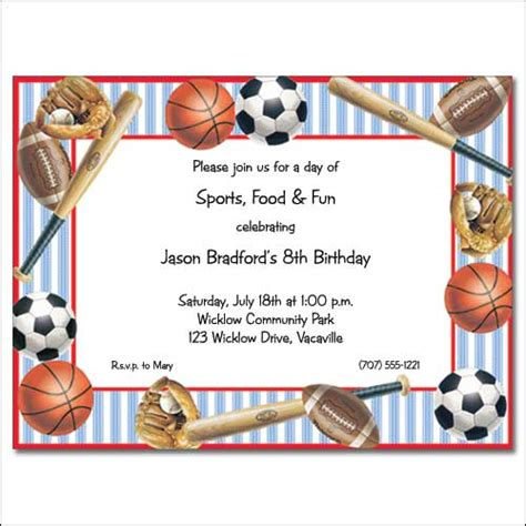 sports themed birthday invitations sports themed birthday invitations gangcraft net