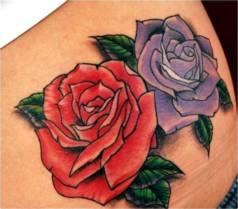 purple and blue rose tattoo trend styles of arts