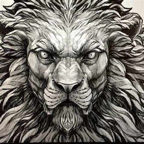 lion face tattoo designs unique black ink design