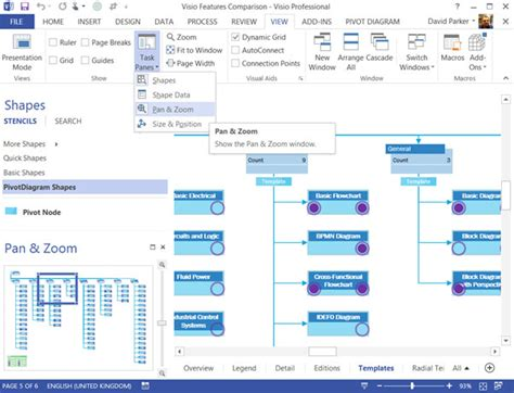 visio for office 2013 panning and zooming in visio 2013
