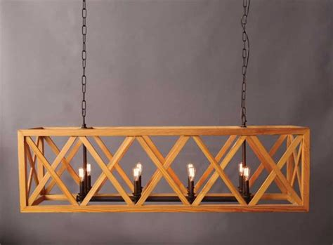 Rectangular Wood Chandelier Large Wooden Criss Cross Rectangular Chandelier American Or Country Style The Bay