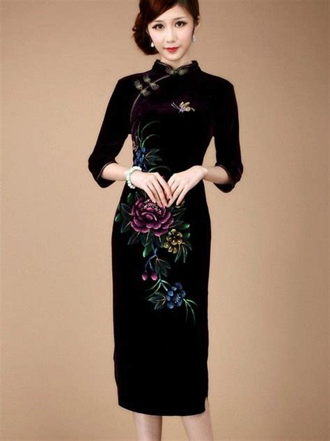 Sleeve Qipao velour sleeve qipao cheongsam evening