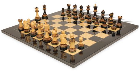 chess set staunton chess set in burnt boxwood with black ash