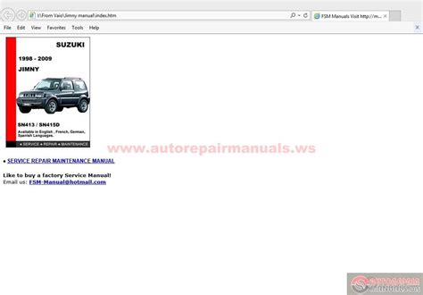service repair manual free download 1998 suzuki x 90 lane departure warning suzuki jimny 1998 2009 service manual auto repair manual forum heavy equipment forums