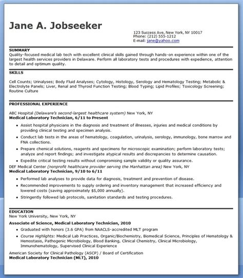 medical laboratory technician resume sample resume downloads