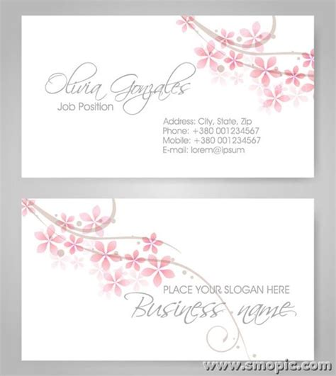 simple fresh petals female theme business card background