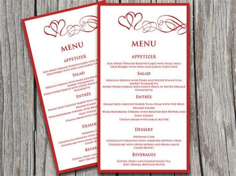 valentines menu template valentines and words on