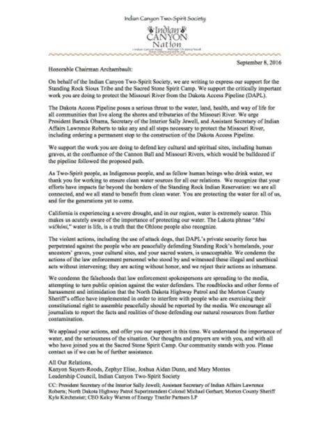 Society Letter Of Standing Two Spirit Society Of Indian Stands With Standing Rock Sioux Tribe And Sacred C