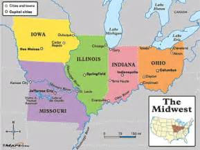 Midwestern States Map by Midwestern United States Middle West U S Midwest U S