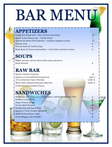 bar menu template microsoft word templates