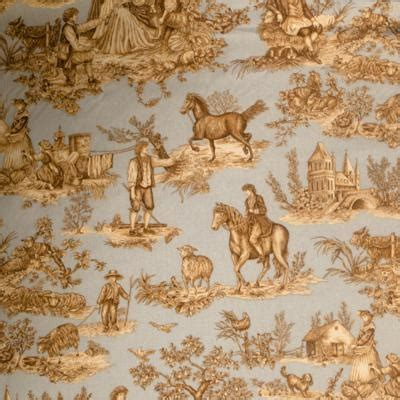 country french upholstery fabric cavalier toile copper on celadon indoor upholstery